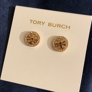 Tory Burch T Logo Crystal Circle Stud Earrings